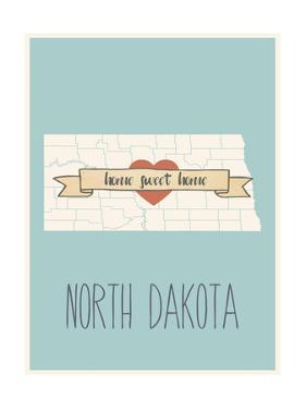 North-Dakota State Map, Home Sweet Home by Lila Fe