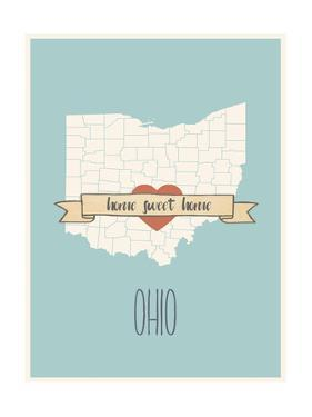 Ohio State Map, Home Sweet Home by Lila Fe