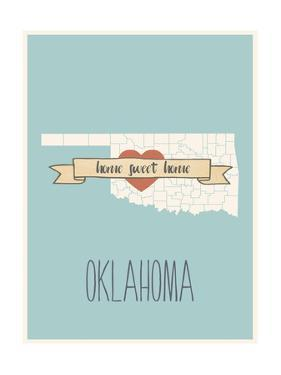 Oklahoma State Map, Home Sweet Home by Lila Fe
