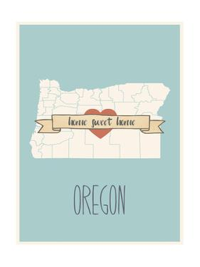 Oregon State Map, Home Sweet Home by Lila Fe