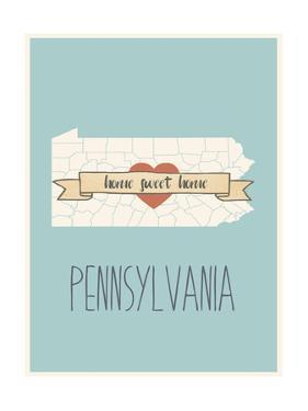 Pennsylvania State Map, Home Sweet Home by Lila Fe