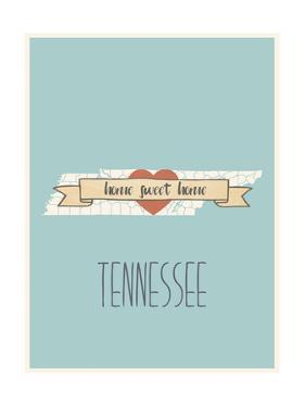 Tennessee State Map, Home Sweet Home by Lila Fe
