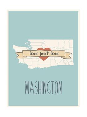 Washington State Map, Home Sweet Home by Lila Fe
