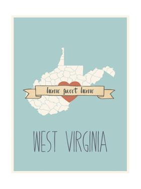West-Virginia State Map, Home Sweet Home by Lila Fe