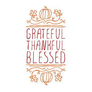 Grateful, Thankful, Blessed - Typographic Element by Lilia