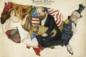 Cartoon Map Depicting the US Presidential Election Of 1880. the Outline Is Of the United States by Lilian Lancaster