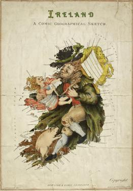 Cartoon Map Of Ireland As a Man With a Child by Lilian Lancaster