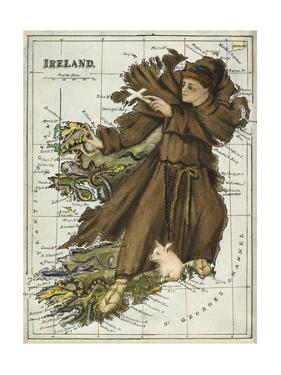 Map Of Ireland Representing St Patrick Driving Out the Snakes by Lilian Lancaster