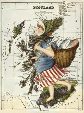 Map Of Scotland As a Woman Carrying a Basket Of Fish. by Lilian Lancaster