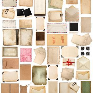 Aged Paper Sheets, Books, Pages and Old Postcards Isolated on White Background by LiliGraphie