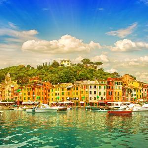Beautiful Sunset in Portofino Village on Ligurian Coast, Italy by LiliGraphie