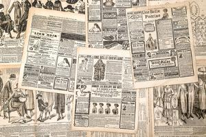 Newspaper Pages with Antique Advertising. Woman's Fashion Magazine by LiliGraphie