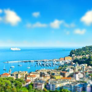 Panoramic View with Tilt-Shift Effect. Santa Margherita, Ligurian Resort , Italian Riviera. Beautif by LiliGraphie