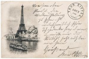 Vintage Postcard with Eiffel Tower in Paris by LiliGraphie