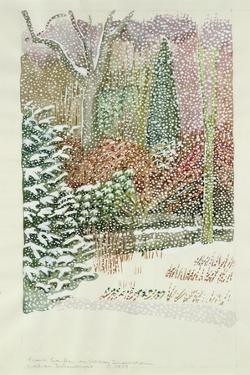 Front Garden in Heavy Snowstorm by Lillian Delevoryas