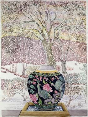Large Ginger Jar in Snowstorm by Lillian Delevoryas