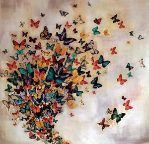 Butterflies on Pale Ochre by Lily Greenwood