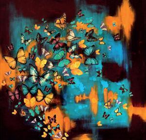 Butterflies on Warm Ochre by Lily Greenwood