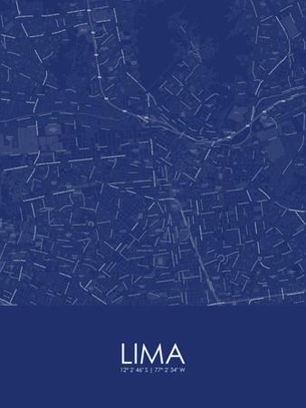 Lima, Peru Blue Map