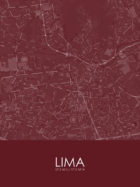Lima, Peru Red Map