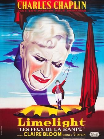 LIMELIGHT (aka LIMELIGHT LES FEUX DE LA RAMPE), French poster art, Charles Chaplin, 1952