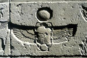 Limestone Relief of a Scarab Beetle and Vulture Wings under a Disk of the Sun, Edfu, Egypt