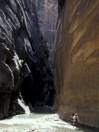 Hikers in Zion Narrows, Zion National Park, UT, USA