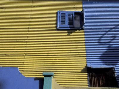 Yellow and Blue Walls with Shadow of a Street Light, La Boca, Buenos Aires, Argentina
