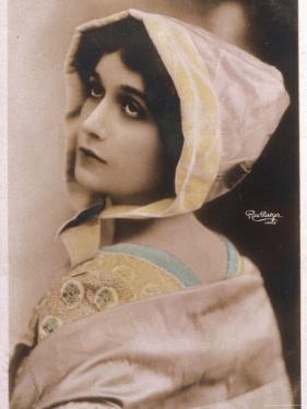 Lina Cavalieri Italian Singer Wearing a Bonnet