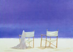 Canvas Chairs on Beach by Lincoln Seligman