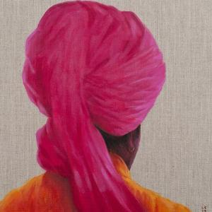 Pink Turban, Orange Jacket, 2014 by Lincoln Seligman