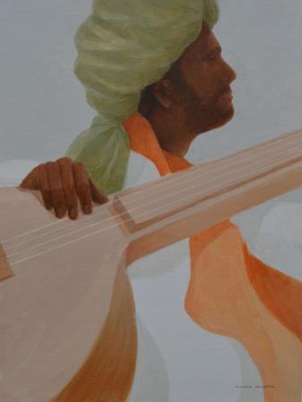 Sitar Player, Olive Turban by Lincoln Seligman