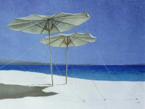 Umbrellas, Greece, 1995 by Lincoln Seligman