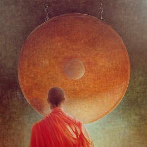 Young Monk with Gong by Lincoln Seligman