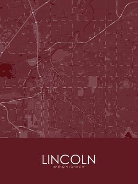 Lincoln, United States of America Red Map