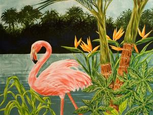Tropical Flamingo I by Linda Baliko