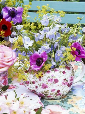 Anemones and Delphiniums in a Teapot by Linda Burgess