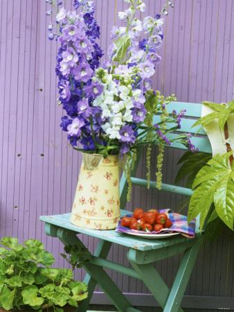 Garden Chair with Delphiniums and Plate of Strawberries by Linda Burgess