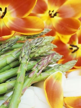 Heralds of Spring: Green Asparagus and Tulips by Linda Burgess