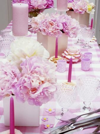 Laid Table with Pink Accessories and Peonies by Linda Burgess