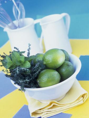 Limes, Mint and Thyme in a Bowl by Linda Burgess