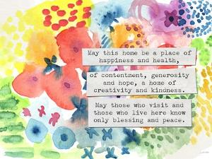 Jewish Home Blessing Floral by Linda Woods