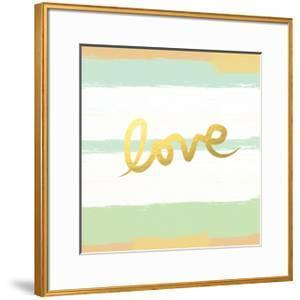 Love Stripes Mint and Gold by Linda Woods