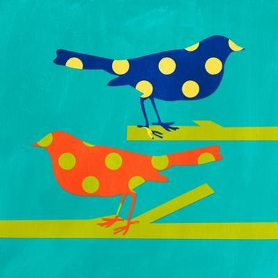 Navy and Orange Birds by Linda Woods