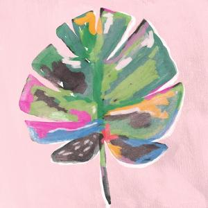 Painted Palm on Pink by Linda Woods