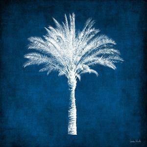 Single Indigo and White Palm Tree by Linda Woods