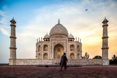 A Man Stands In Fron To F The Taj Mahal With Bird In Flight