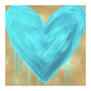Big Hearted Aqua on Gold by Lindsay Rodgers