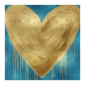 Big Hearted Gold on Aqua by Lindsay Rodgers