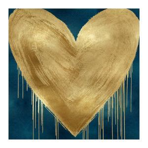Big Hearted Gold on Teal by Lindsay Rodgers